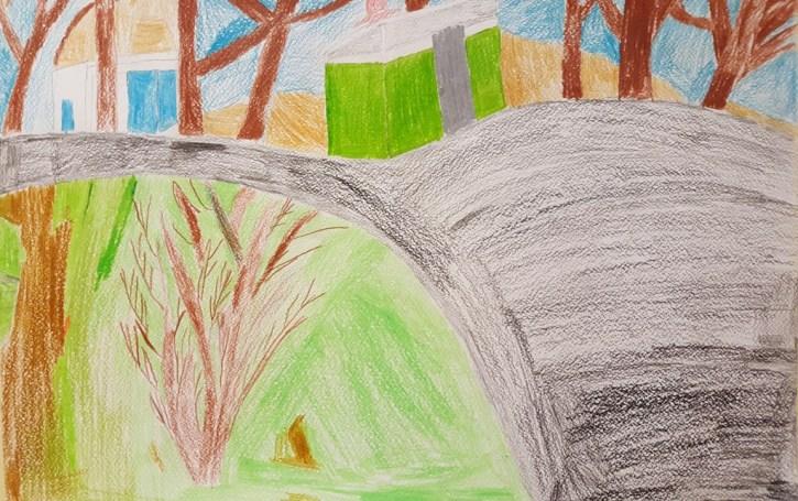 Kevin joonistas kevadise kooliõue.