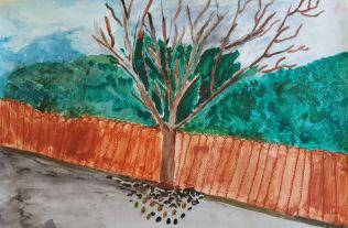 """Moonica K. """"Päikese ootuses"""" Selle pildi inspiratsiooniks oli puu Lõokese tänavas."""