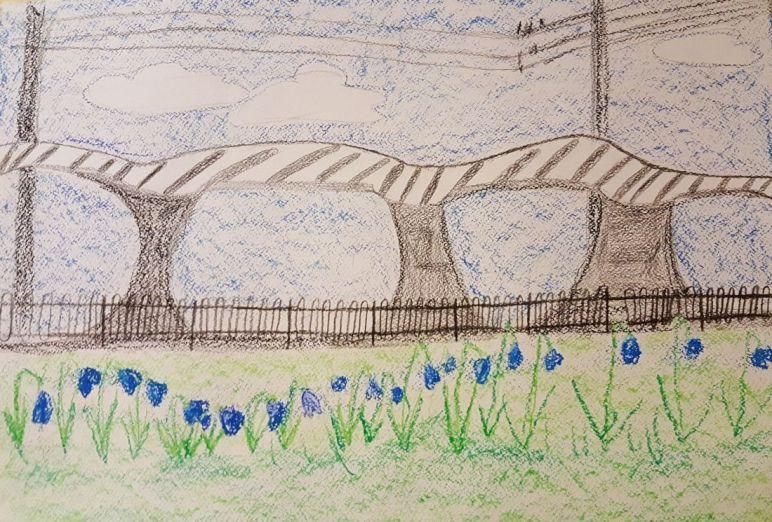 9.v klass joonistas peatuse lilledega Tondi tänaval.